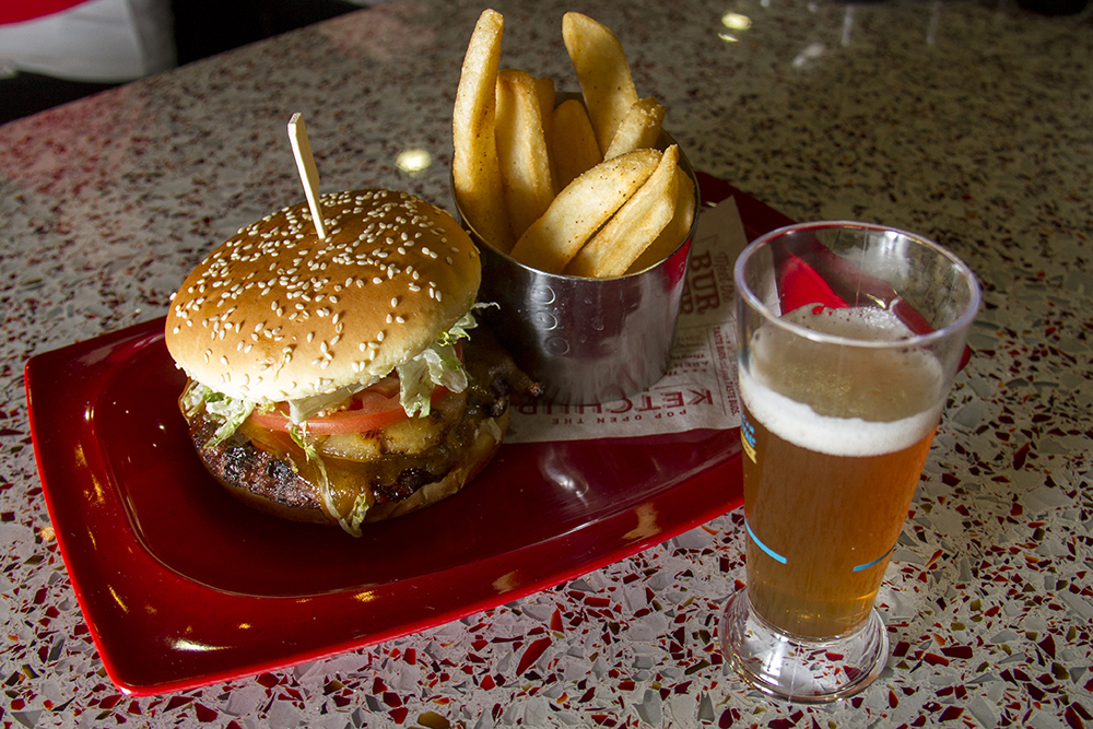 Red Robin's teryaki pinapple Banzai Burger paired with the Grilled Pineapple Golden Ale, a collaboration between Red Robin and New Belgium Brewery. (Kevin J. Beaty/Denverite)  food; gabf; great american beer fest; beer; kevinjbeaty; denverite; denver; colorado;