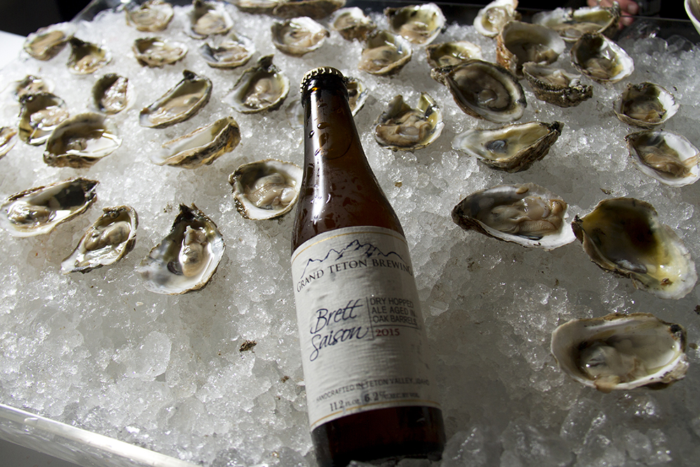 Oysters on the half shell from Jax Fish House paired with Grand Teton Brewing's dry-hopped Brett Saison. (Kevin J. Beaty/Denverite)  food; gabf; great american beer fest; beer; kevinjbeaty; denverite; denver; colorado;