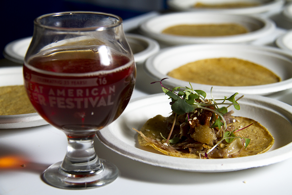 The Abbey Road Belgian Dubbel from Edgewater's Joyride Brewing Company, paired with Portland-based Honkey Tonk Taco's duck confit tacos. (Kevin J. Beaty/Denverite)  food; gabf; great american beer fest; beer; kevinjbeaty; denverite; denver; colorado;