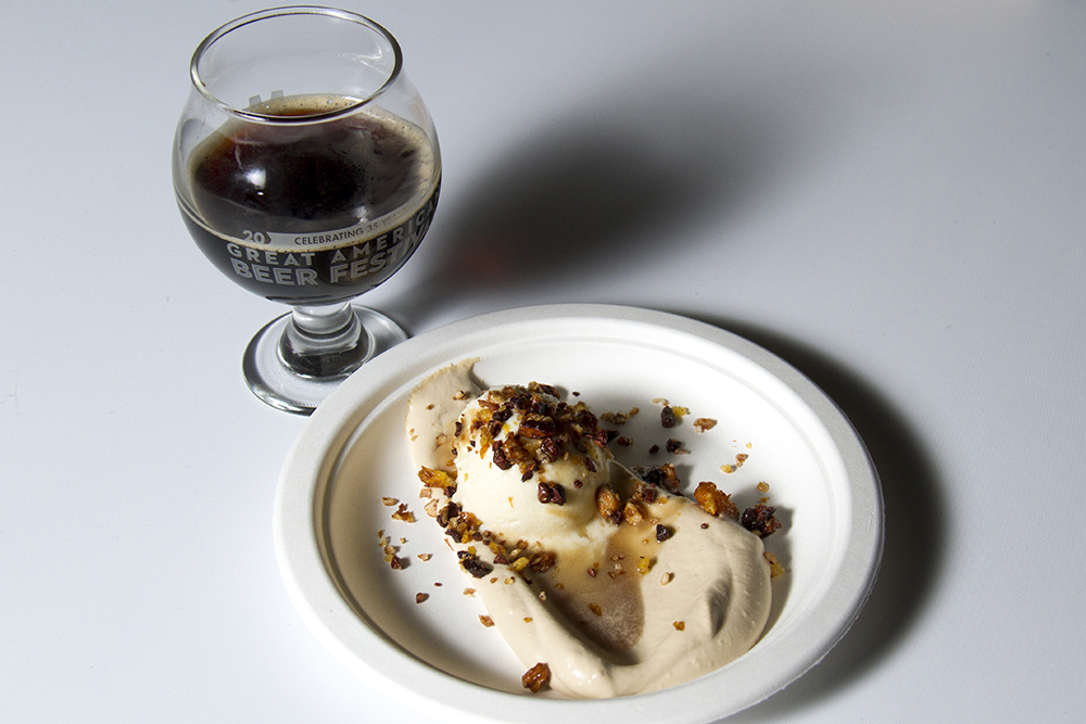 Oskar Blues' Death by Coconut Irish porter paired with Portland-based Park Kitchen's Boilermaker Sundae, featuring bourbon, double-smoked porter caramel, barleymalt whipped cream and beer nut granola. (Kevin J. Beaty/Denverite)  food; gabf; great american beer fest; beer; kevinjbeaty; denverite; denver; colorado;