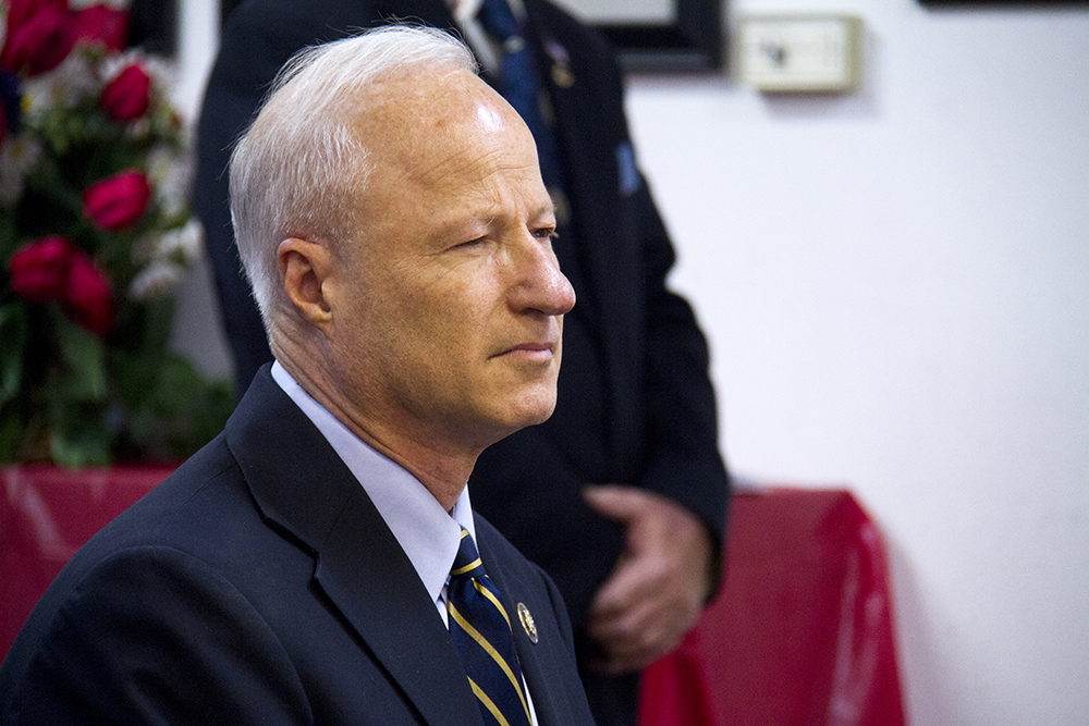 US Congressional candidate Mike Coffman waits to speak at the American Legion Depaerment of Colorado in Lowry. (Kevin J. Beaty/Denverite)  mike coffman; copolitics; denver; colorado; kevinjbeaty; denverite; politics; election;