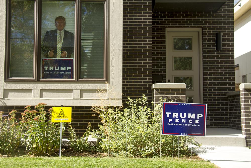 Donald Trump campaign signs. (Kevin J. Beaty/Denverite)  trump; campaign sign; politics; copolitics; election; denver; colorado; denverite; kevinjbeaty