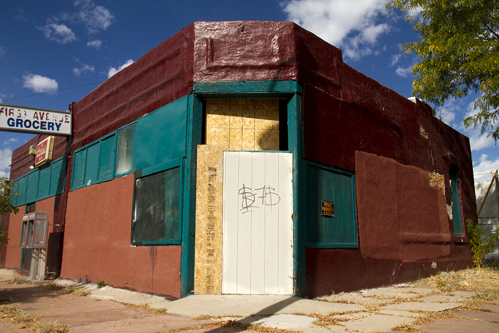 The derelict First Avenue Grocery in Baker. (Kevin J. Beaty/Denverite)  baker; commercial real estate; denver; colorado; denverite; kevinjbeaty;