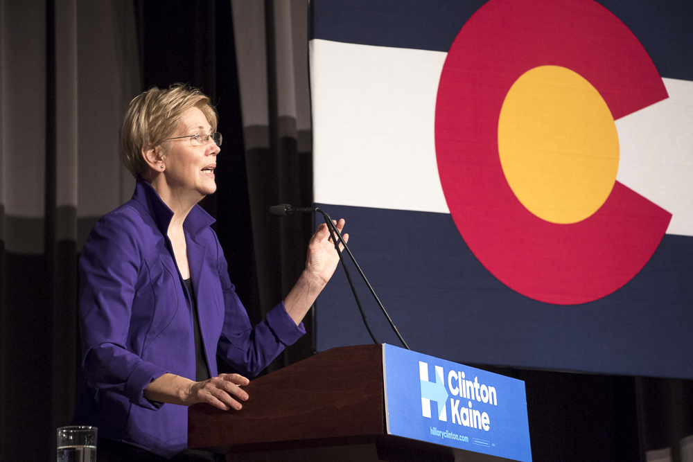 Elizabeth Warren at Hillary Clinton's Get Out the Vote Rally in Denver. (Chloe Aiello/Denverite)