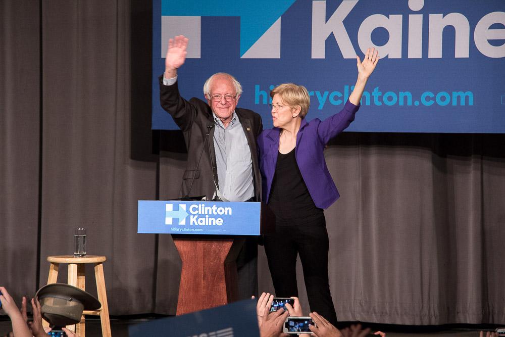 Senators Bernie Sanders and Elizabeth Warren appeared at Auraria for a Hillary Clinton rally. (Chloe Aiello/Denverite)
