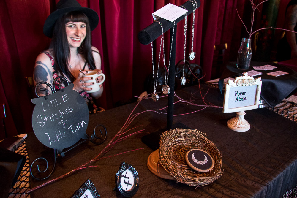 Stephanie Tierney of Little Stitches at the Witch Collective market. (Chloe Aiello/Denverite)