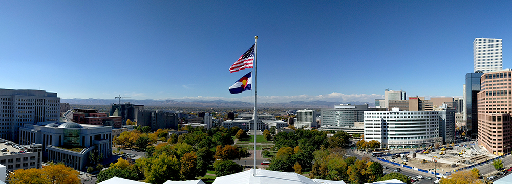 Autumn colors seen from the Capitol rotunda. (Kevin J. Beaty/Denverite)  autumn; cowx; weather; civic center park; capitol hill; kevinjbeaty; denver; denverite;