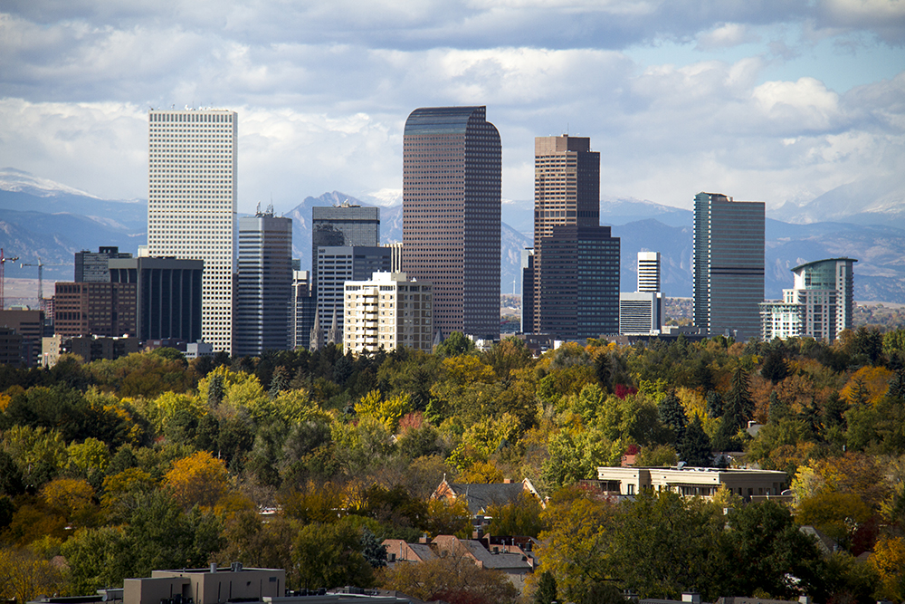 Denver on an autumn day. (Kevin J. Beaty/Denverite)  skyline; cityscape; denver; colorado; weather; cowx; autumn; kevinjbeaty; denverite;