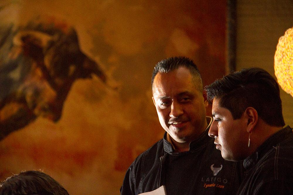 Head chef and owner Ignacio Leon (left) and his nephew and sous chef Raul Leon address members of the media at Latigo's press preview, Oct. 18, 2016. (Kevin J. Beaty/Denverite)  latigo; food; lodo; ballpark; kevinjbeaty; denverite; denver; colorado;