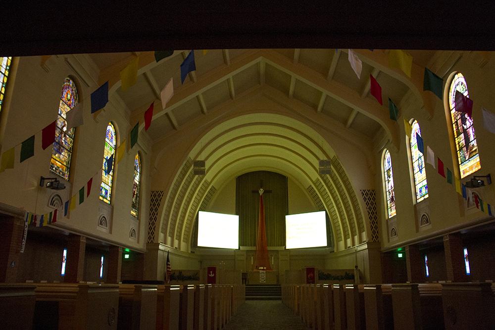 A sanctuary inside the Park Hill United Methodist Church. (Kevin J. Beaty/Denverite)  religion; judaism; temple; torah; denver; colorado; kevinjbeaty; denverite