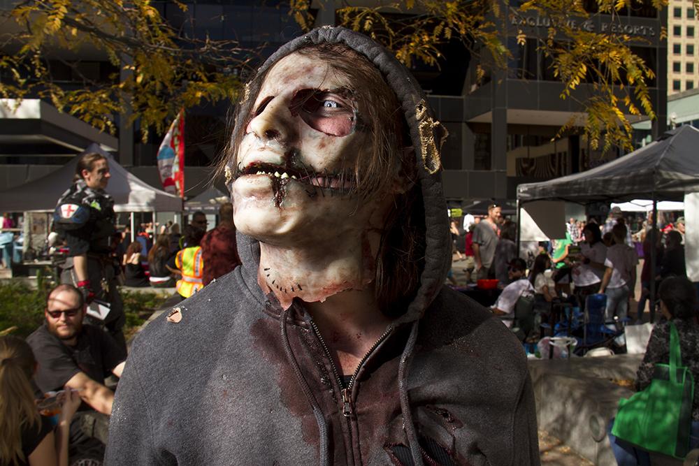 Jeremiah Jarman. Denver Zombie Crawl. Oct. 22, 2016. (Kevin J. Beaty/Denverite)  zombie crawl; halloween; cosplay; 16th street mall; sixteenth street; kevinjbeaty; denver; colorado; denverite; cbd;