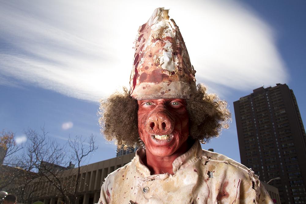 Brandon Townsend, or as he's known at City of the Dead, Chey BoyarScream. Denver Zombie Crawl. Oct. 22, 2016. (Kevin J. Beaty/Denverite)  zombie crawl; halloween; cosplay; 16th street mall; sixteenth street; kevinjbeaty; denver; colorado; denverite; cbd;