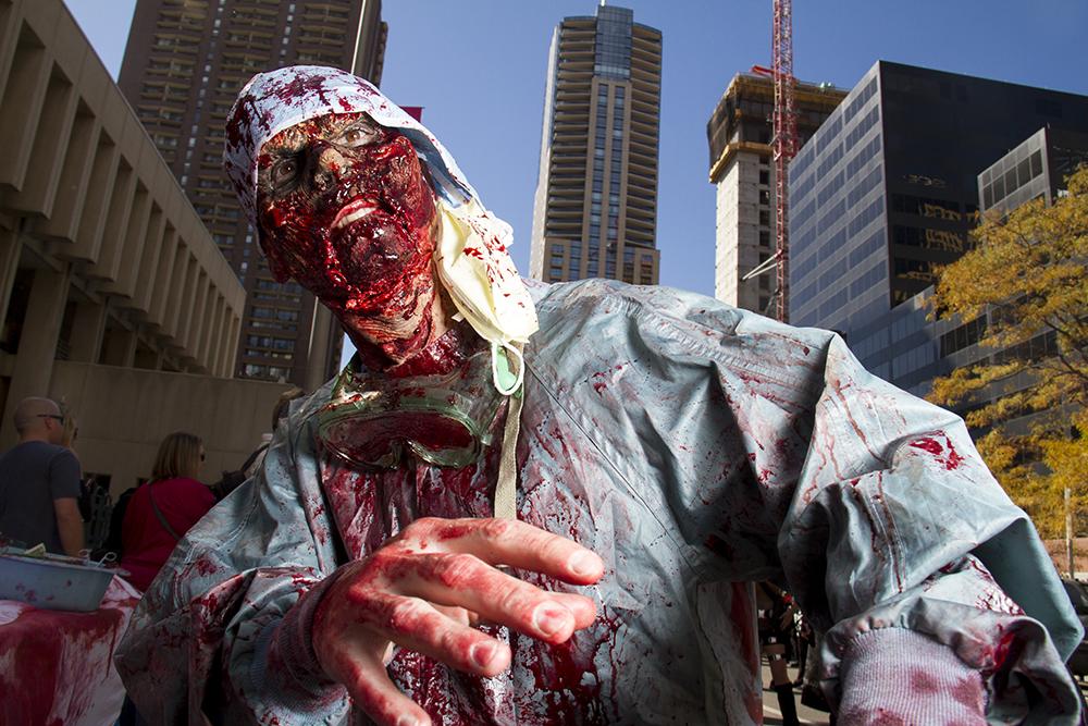 Undead doctor Dustin Snell. Denver Zombie Crawl. Oct. 22, 2016. (Kevin J. Beaty/Denverite)  zombie crawl; halloween; cosplay; 16th street mall; sixteenth street; kevinjbeaty; denver; colorado; denverite; cbd;