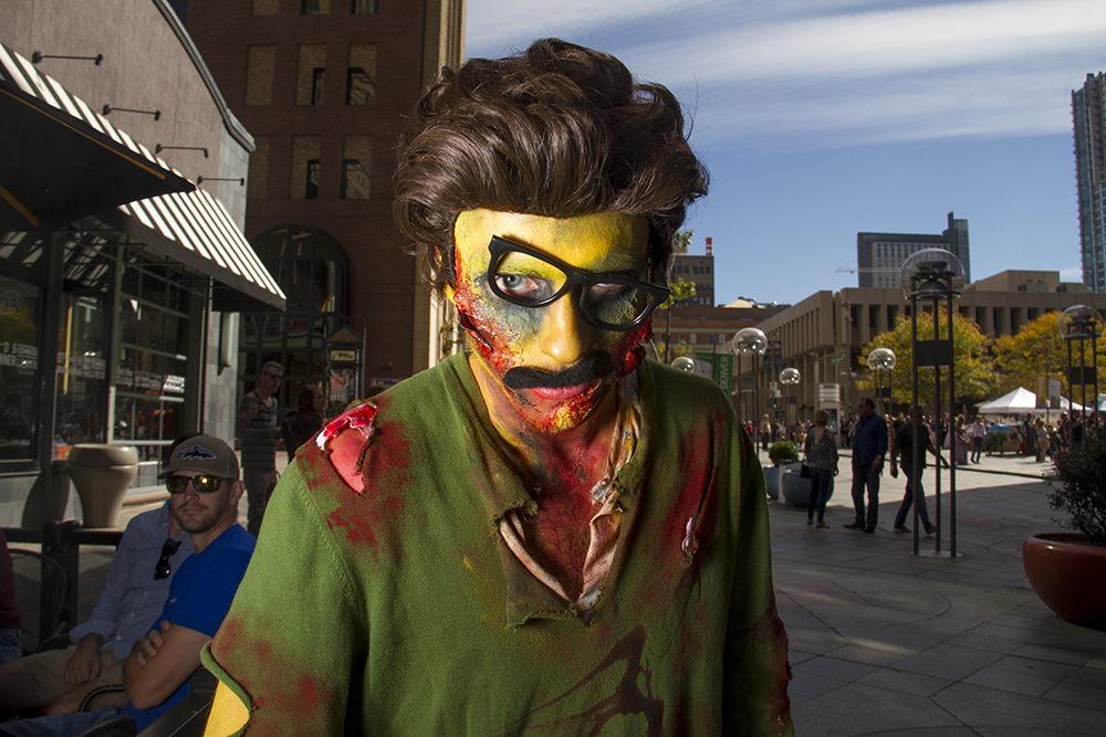 Undeadily doodily Ned Flanders. Denver Zombie Crawl. Oct. 22, 2016. (Kevin J. Beaty/Denverite)  zombie crawl; halloween; cosplay; 16th street mall; sixteenth street; kevinjbeaty; denver; colorado; denverite; cbd;