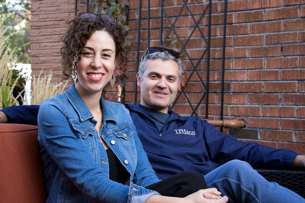 Jenaya McGowen and Larime Zarrad outside of the Tokken office. (Chloe Aiello/Denverite)