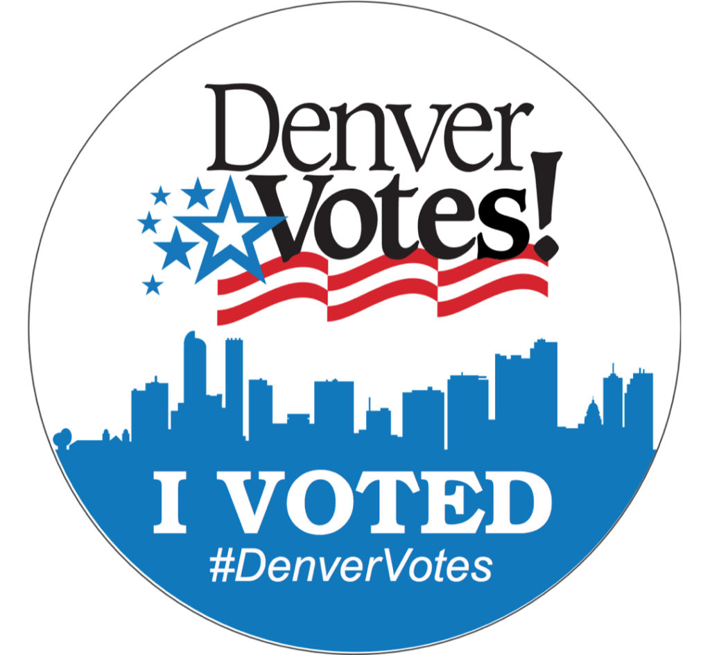 """The """"I Voted"""" stickers the Denver Elections Division is handing out. (Courtesy of the city of Denver)  election; vote; voting; denver; colorado; denverite;"""