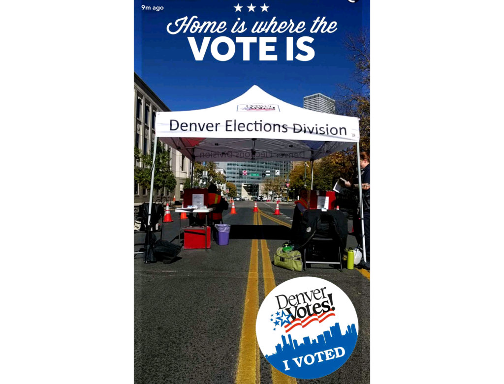A Snapchat voting booth filter, triggered at 14th and Bannock. (Kevin J. Beaty/Denverite)  election; vote; voting; kevinjbeaty; denver; colorado; denverite; snapchat