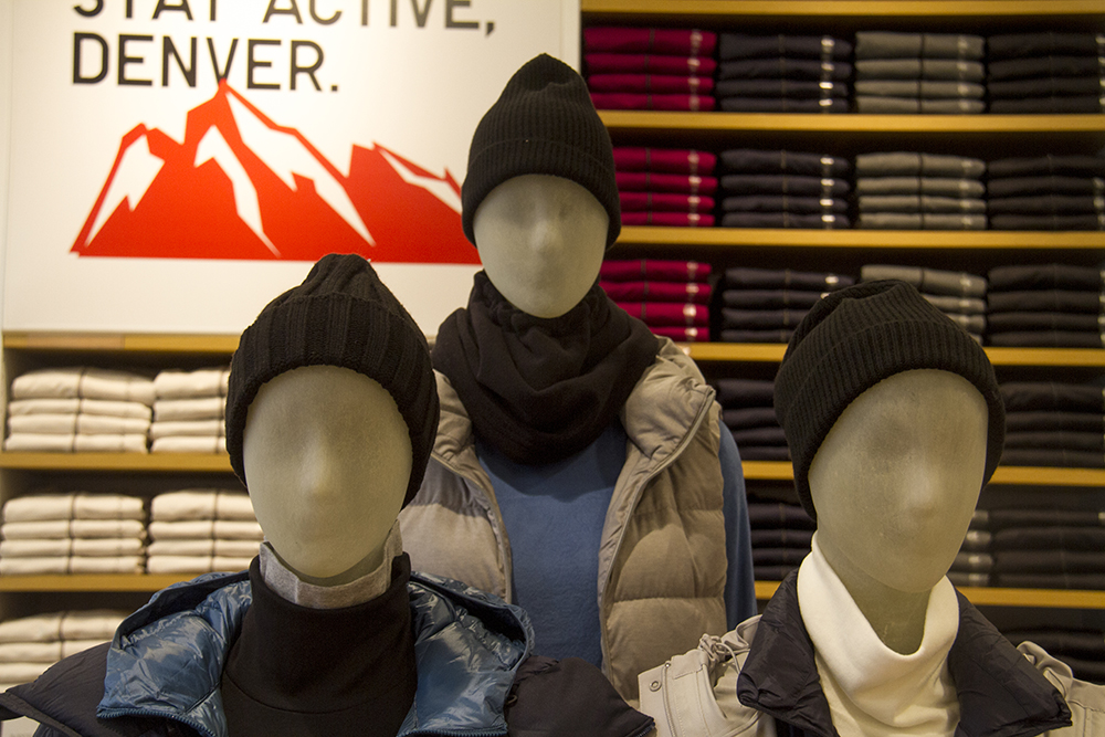 Clothing and mannequins at UNIQLO. (Kevin J. Beaty/Denverite)  retail; commercial; denver; uniqlo; 16th street mall; sixteenth street; kevinjbeaty; denverite; colorado;