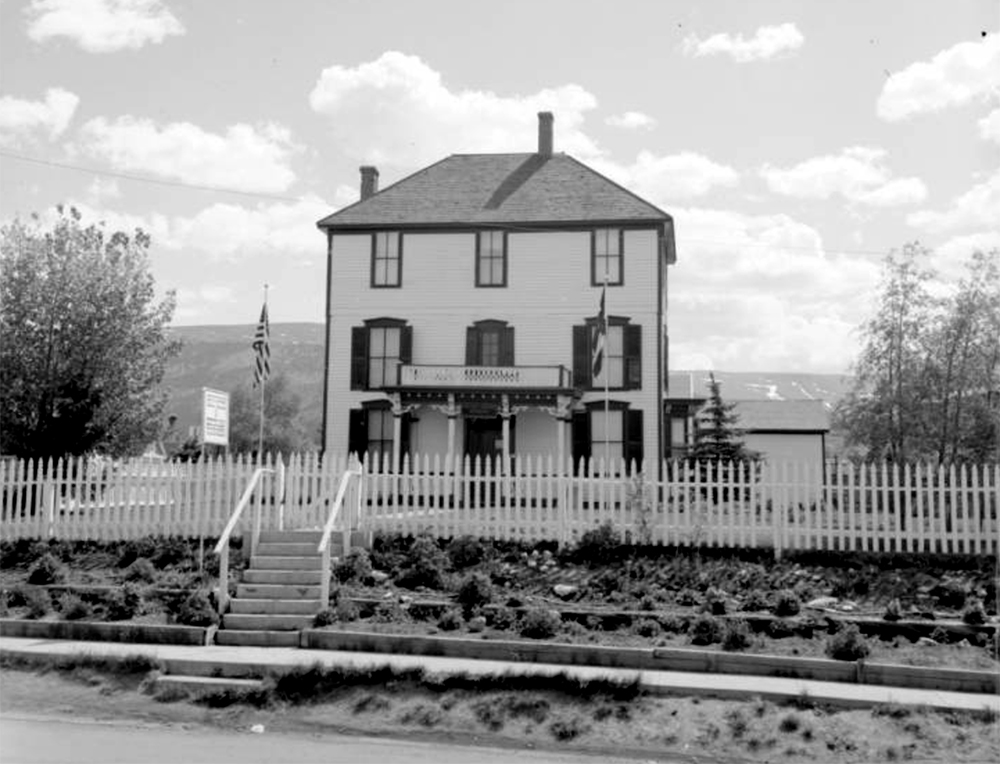 Exterior view of the west facade of the Healy House State Museum on the northwest corner of Harrison Avenue and East Tenth Street in Leadville, Colorado. Between 1960 and 1970. (Sandra Dallas/Denver Public Library/Western History Collection/X-263)  history colorado; historic; denver public library; dpl; archive; archival; denverite