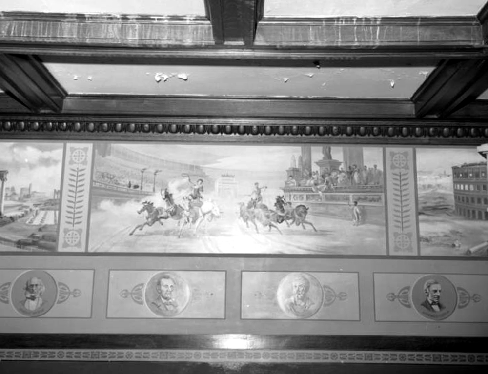 Interior view of a wall mural and portion of a beamed ceiling in the Frederick Warshauer residence in Antonito, Conejos County, Colorado. Between 1964. (Sandra Dallas/Denver Public Library/Western History Collection/X-6629)  history colorado; historic; denver public library; dpl; archive; archival; denverite