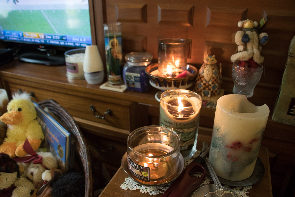 Alford loves having candles in her home. (Chloe Aiello/Denverite)