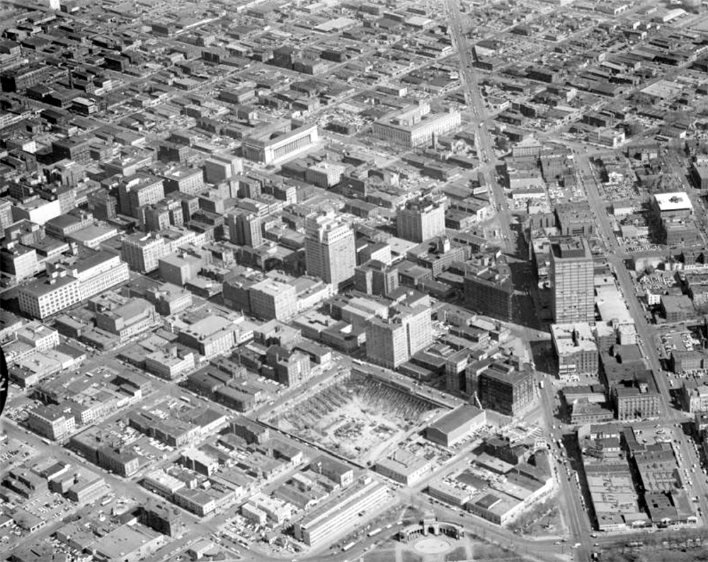 Aerial view of the city of Denver, Colorado. Between 1940 and 1960. (Harry Mellon Rhoads/Denver Public Library/Western History Collection/Rh-1287)  historic; denver public library; dpl; archive; archival; denverite
