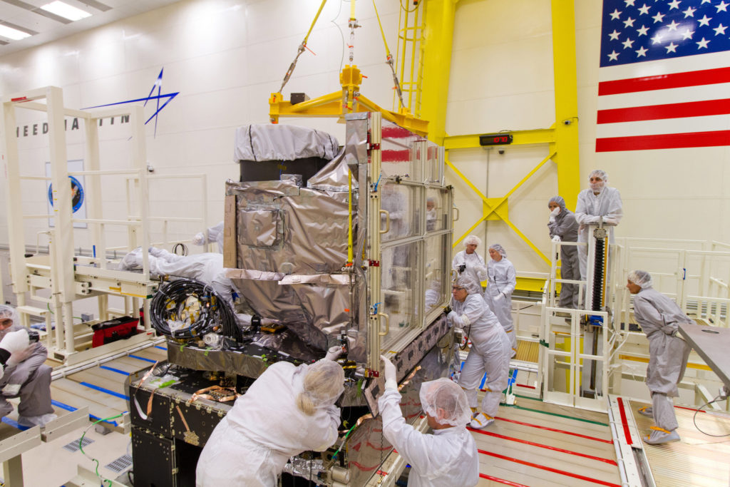 he GOES-R Advanced Baseline Imager (ABI) is installed onto the GOES-R spacecraft at Lockheed Martin in Littleton, Colorado. (NOAA Photo Library/Flickr)