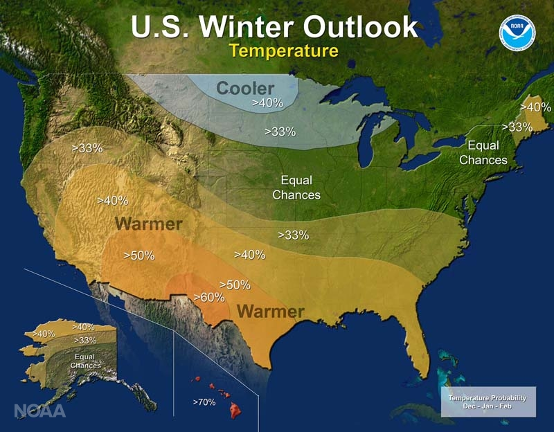 NOAA's winter outlook for the 2016-'17 season. (NOAA)