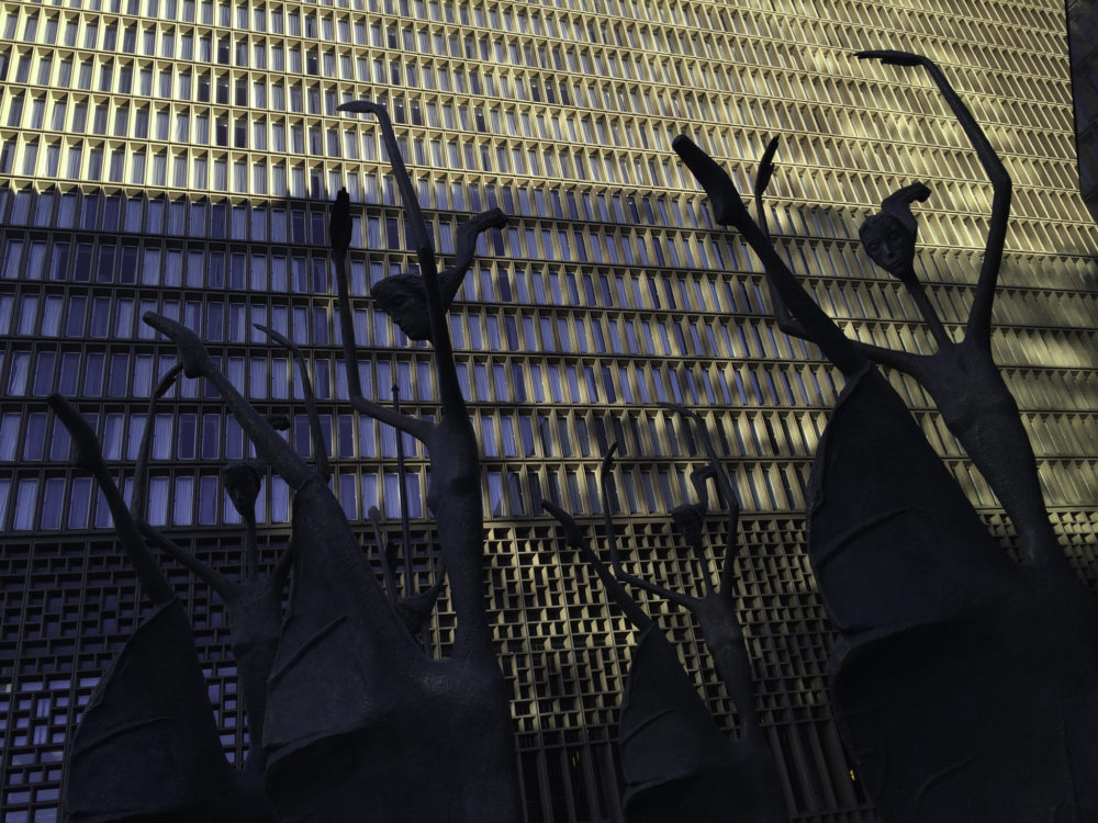 """""""Ballerinas,"""" by Ruth Keller Schweiss, outside of the Sheraton. (Jimmy Baikovicius/Flickr)"""