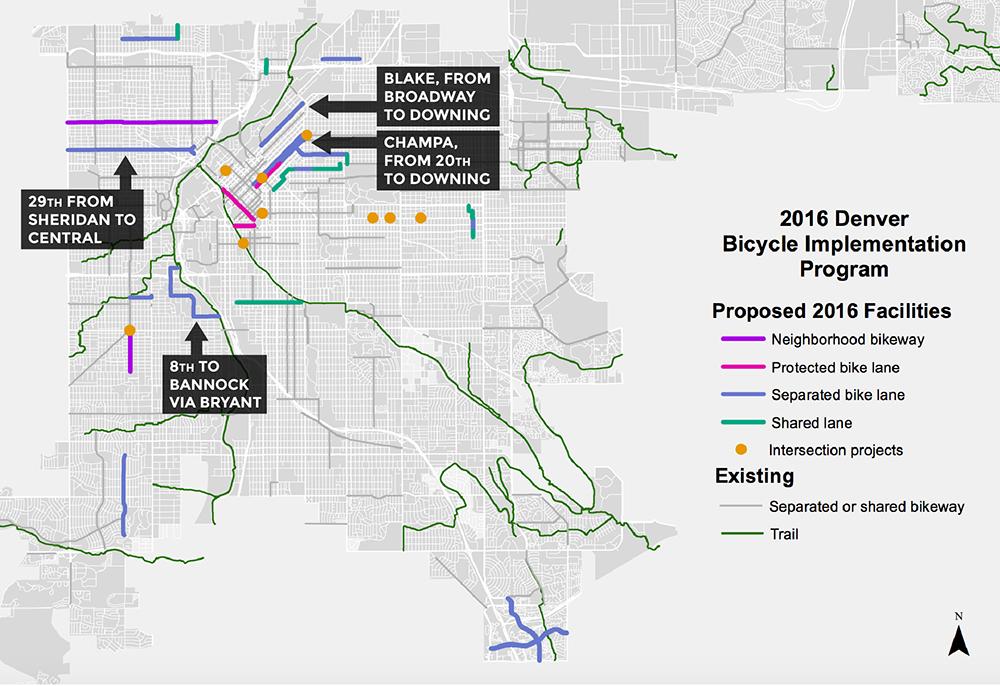 A map of existing and proposed bike lanes in Denver. (Courtesy, Denver Public Works)