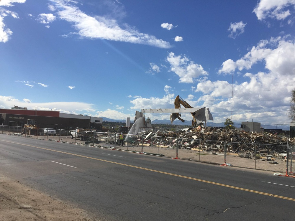 The last building coming down at the Catalyst Health-Tech Innovation site (Courtesy of Dean Koelbel)