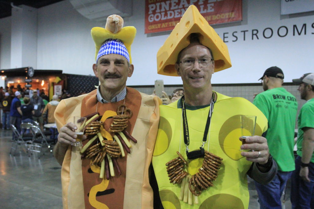 Lance Onan and Dave Benzinger from Milwaukee, Wisc., attend their fifth consecutive Great American Beer Festival. Oct. 6, 2016. (Stephanie Snyder/Denverite)