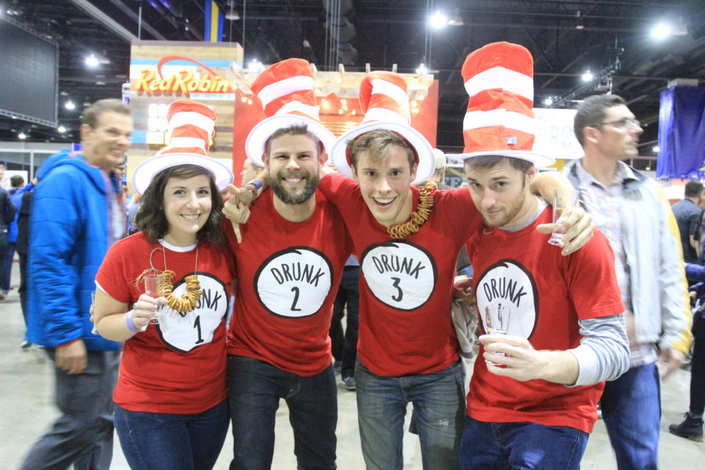 Friends from Boulder, Colo., and Berkeley, Calif. at Great American Beer Festival, Oct. 6, 2016. (Stephanie Snyder/Denverite)