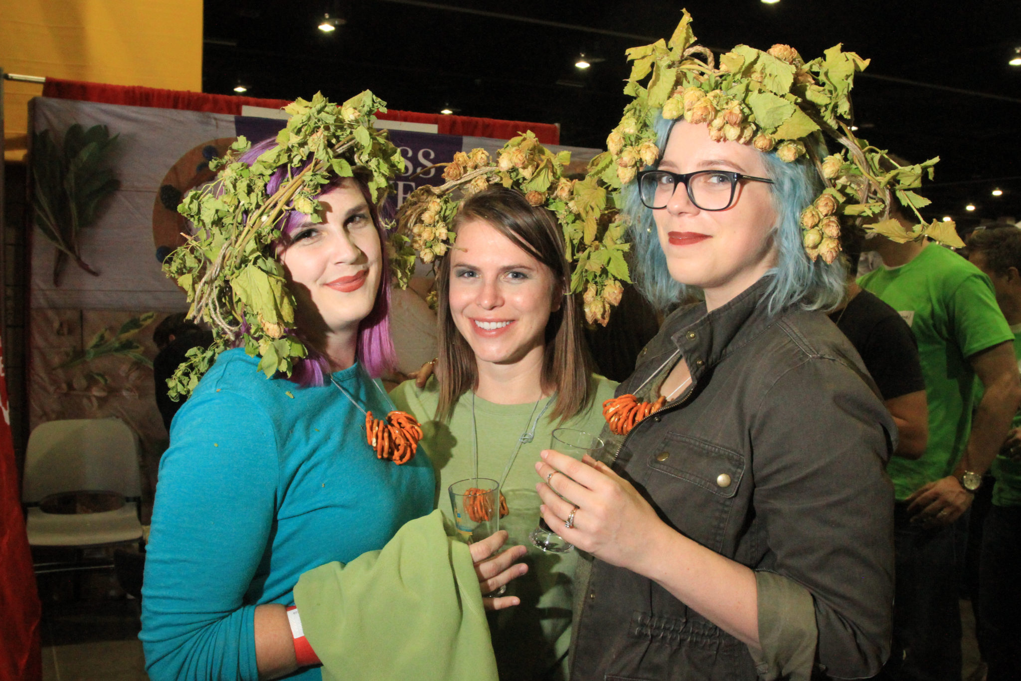 Eleni Hosack, Cheryl Fountain and Liora Dudar, of Denver, at Great American Beer Festival, Oct. 7, 2016. (Stephanie Snyder/Denverite)