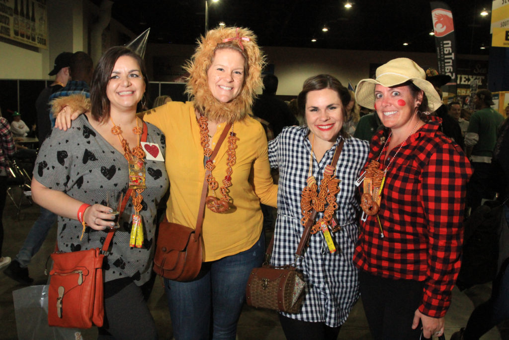 Amanda Gross, Amanda Cadin, Julie Sal and Caitlin Marshall, of San Diego, Calif., at Great American Beer Festival, Oct. 7, 2016. (Stephanie Snyder/Denverite)