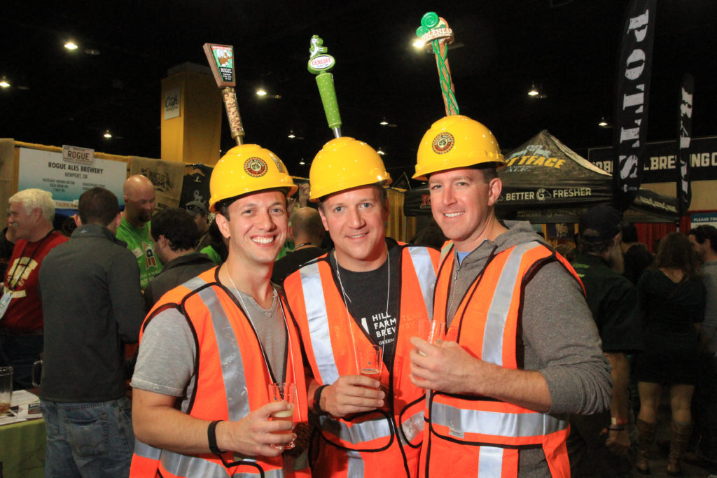 Greg Goyette, Steve Seremeth and Bryan Landerman, of Burlington, Vt., at Great American Beer Festival, Oct. 7, 2016. (Stephanie Snyder/Denverite)