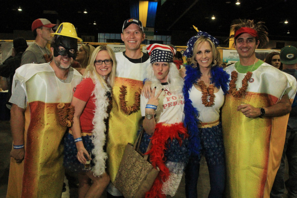 Friends from Denver and Loveland, Colo., at Great American Beer Festival, Oct. 8, 2016. (Stephanie Snyder/Denverite)