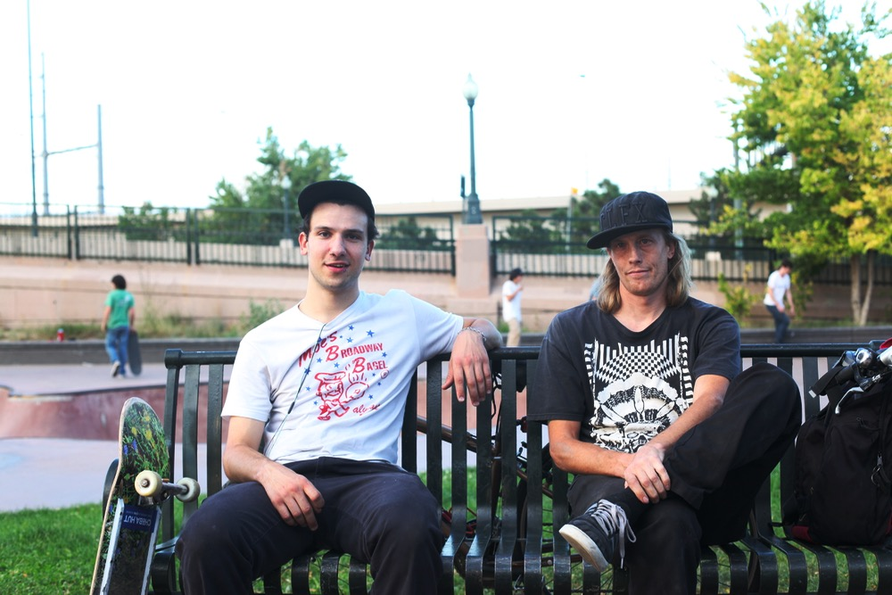 Hunter and Chris pose for a photo at the Denver Skate Park. Chris has been skating here from day one. (Andrew Kenney/Denverite)