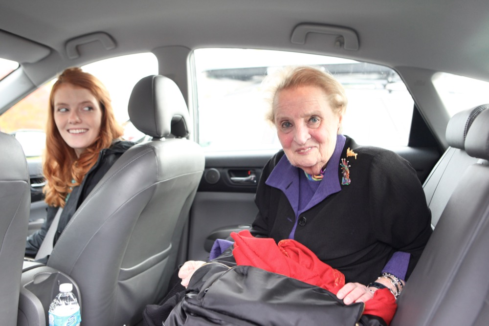 Madeleine Albright in a Prius in Denver on Oct. 12. (Andrew Kenney/Denverite)