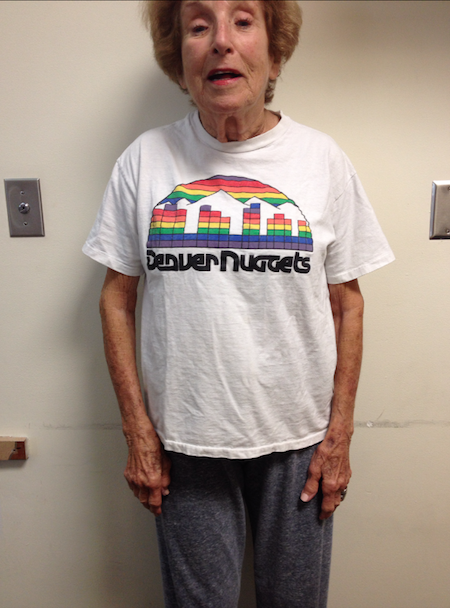 Marsha Scheer still  holds on to her rainbow skyline T-shirt to this day. (Courtesy of Marsha Scheer)