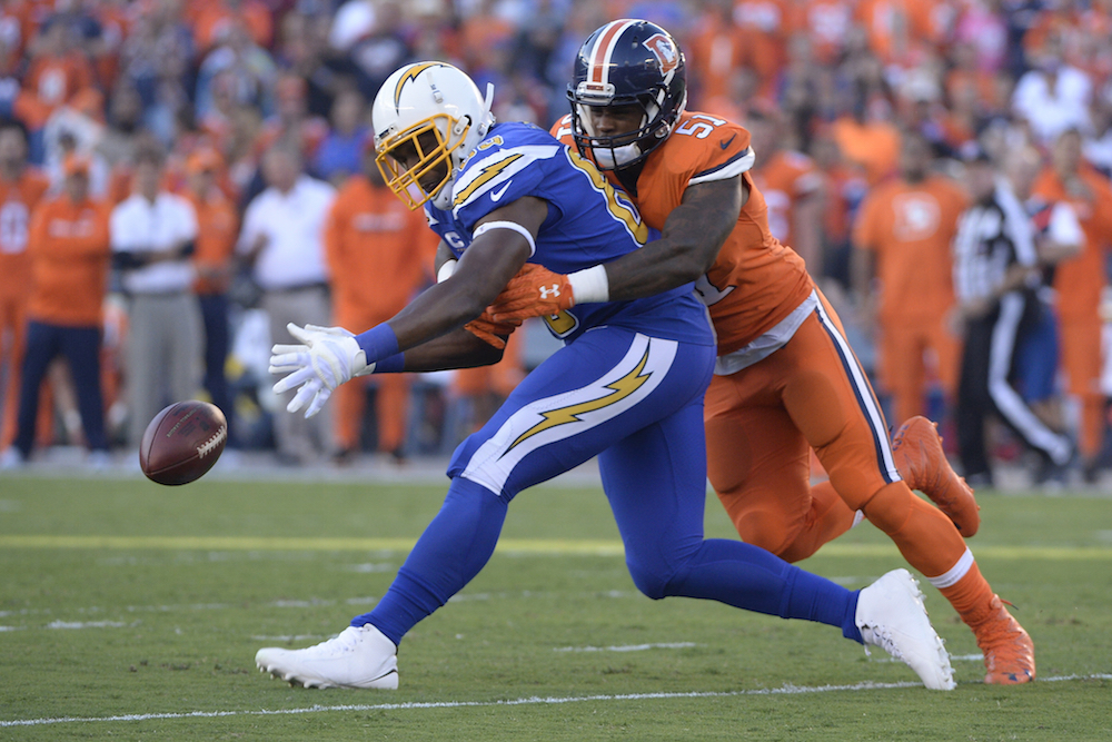 Denver Broncos linebacker Todd Davis (51) breaks up a pass intended for San Diego Chargers tight end Griff Whalen (83) during 1st quarter action  in the NFL game at  Qualcomm Stadium in San Diego, Ca  October 13, 2016. (Photo: © Scott Wachter)