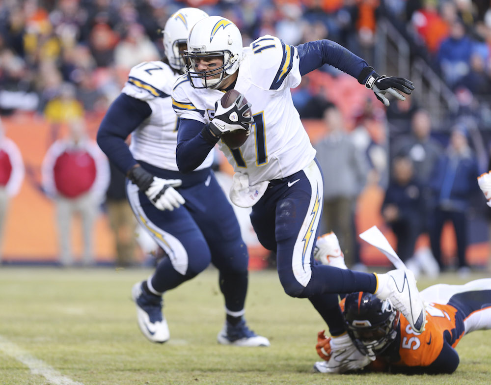 Denver Broncos linebacker Von Miller (58) sacks San Diego Chargers quarterback Philip Rivers (17) for an 8 yard loss during third quarter action in the NFL game at Sports Authority Field in Denver, CO, January 3, 2016. (Photo credit: Ben Hays/Denver Broncos)