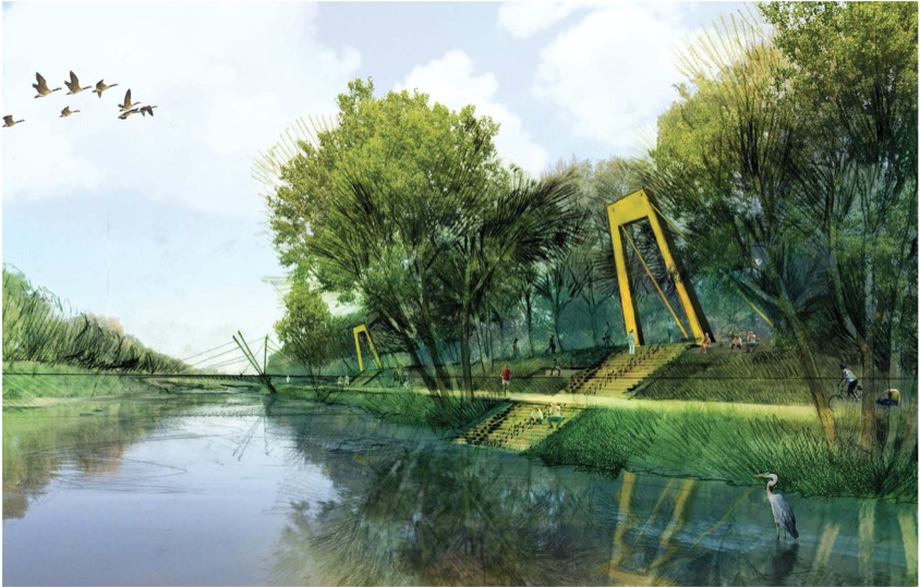 A potential park plan for the South Platte River. (City of Denver)
