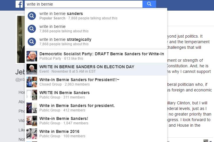 Facebook screengrab of Bernie Sanders write-in groups.