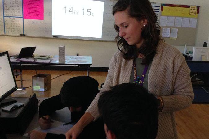 Carly Buch teaches an AP Computer Science class. (Melanie Asmar/Chalkbeat)