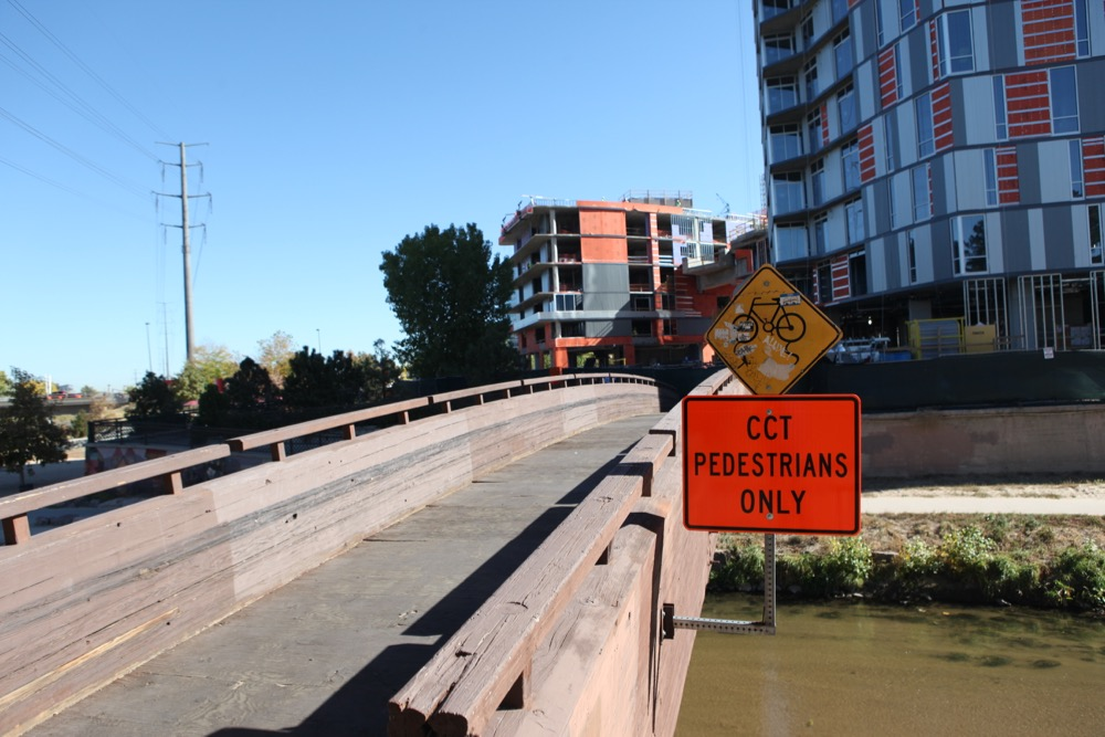 The cycling route across Cherry Creek is blocked by construction. (Andrew Kenney/Denverite)