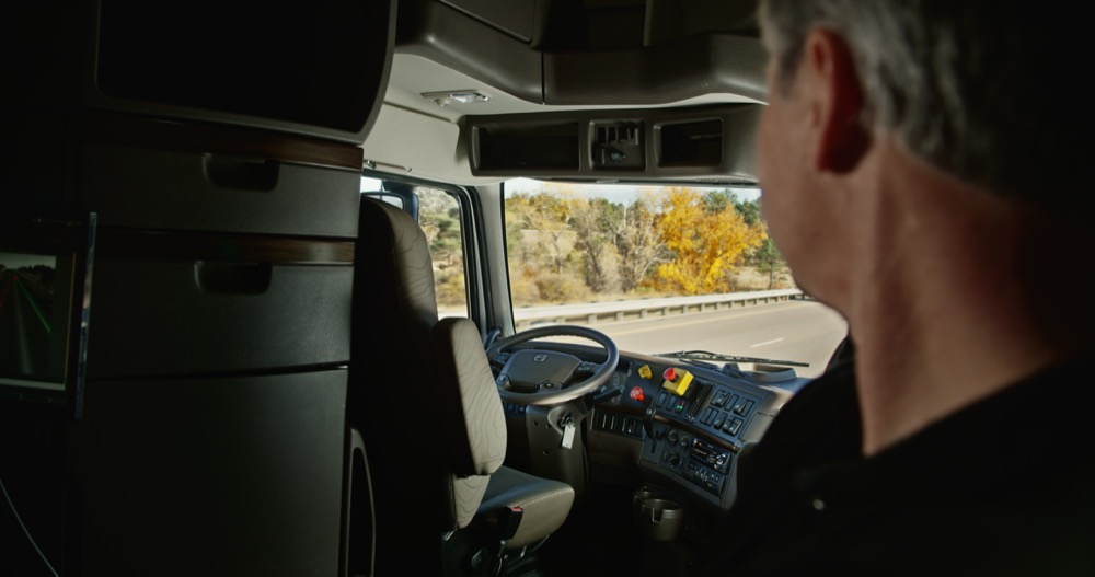 An image of the cabin of a self-driving truck powered by Otto. (Courtesy Budweiser)