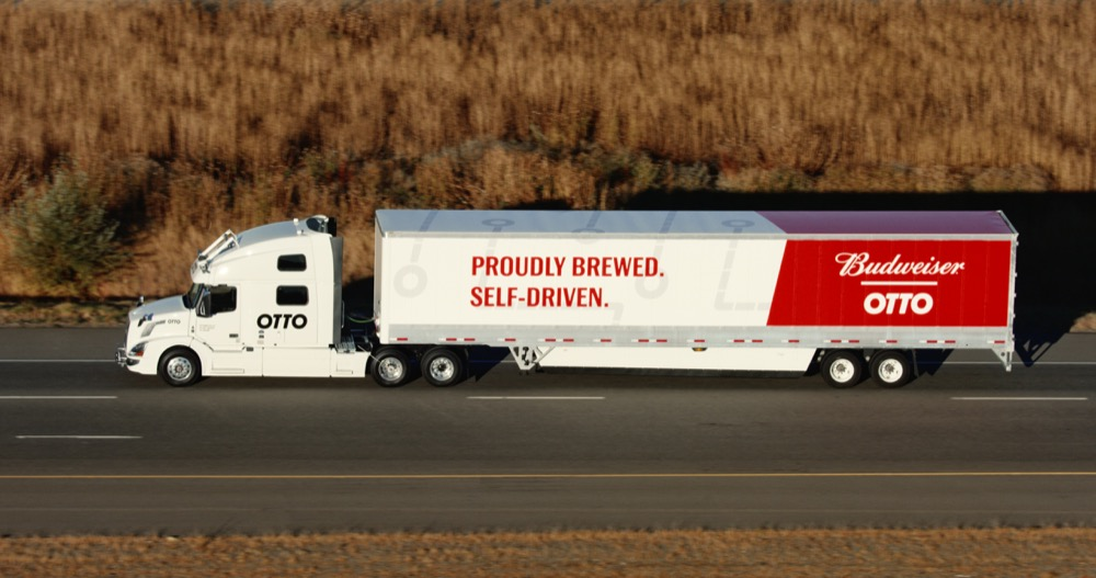 An image of a self-driving truck powered by Otto. (Courtesy Budweiser)
