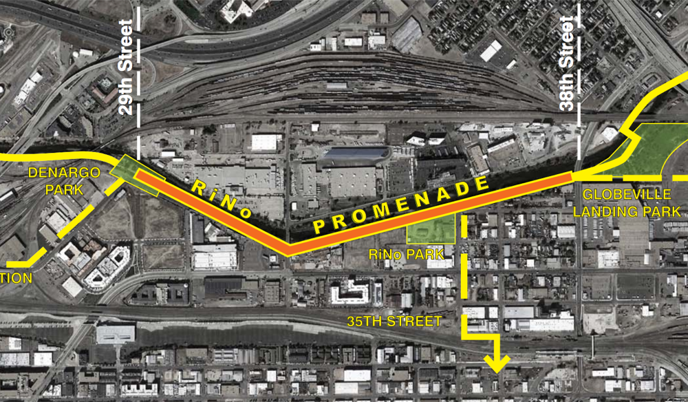 A potential layout for the RiNo Promenade. (City of Denver)