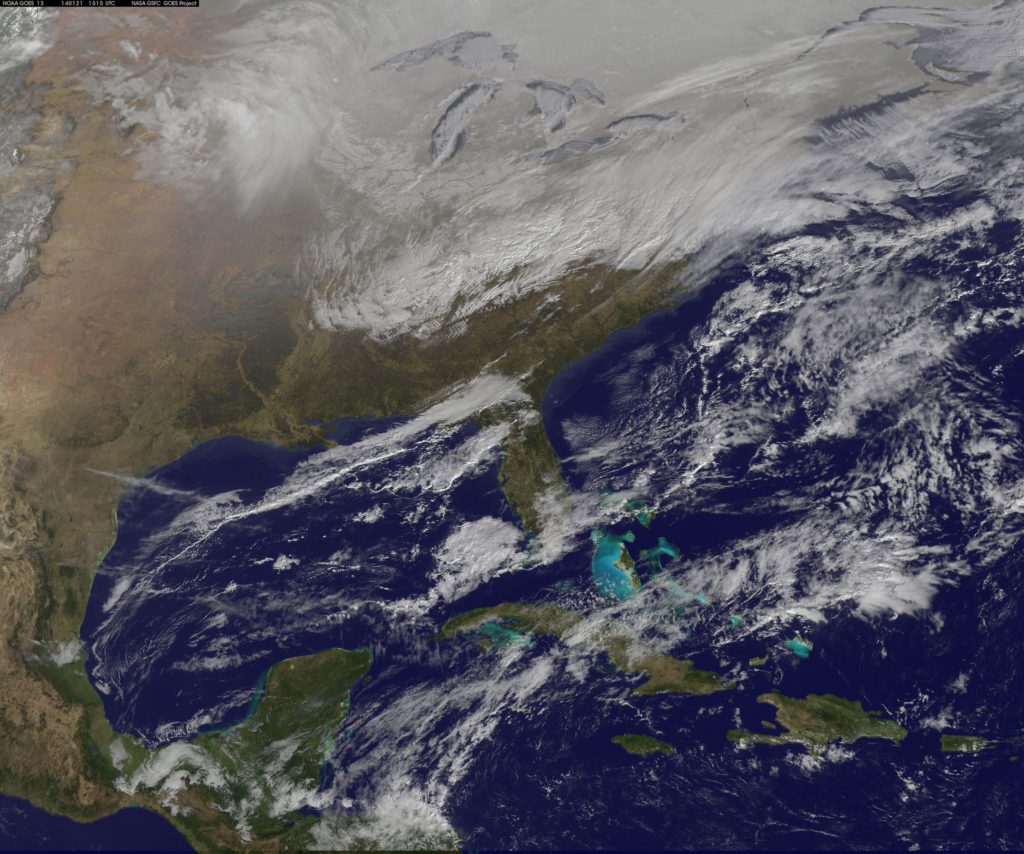 NOAA's GOES-East satellite is providing continuous coverage of the major winter storm affecting the U.S. East Coast on January 21, 2014. (NASA Goddard Space Flight Center/Flickr)